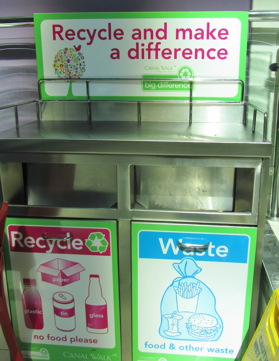 Dual compartment bin in food court, Century City Mall, Cape Town